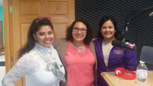 Mankato State Students Leea (left) and Maria (right). Vicky Hidalgo, Recruitment and Retention Advisor (center).
